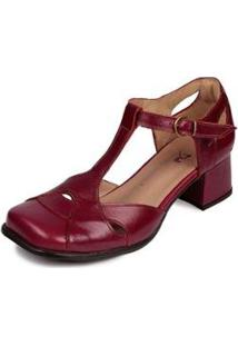 Sapato Boneca Couro Dali Shoes Bico Quadrado Feminino - Feminino-Vermelho