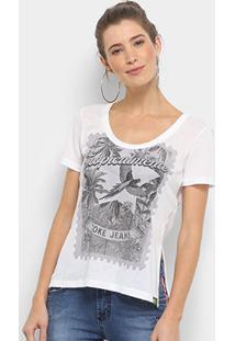 Camiseta Coca-Cola Gola Careca Estampada Feminina - Feminino-Off White