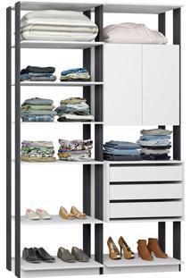 Closet Modulado 1 Armário C/ 3 Gavetas Clothes 9011 – Be Mobiliário - Branco / Espresso