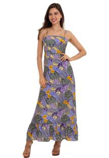 Vestido Kinara Longo Estampado Amarraã§Ã£O Nas Costas Roxo - Roxo - Feminino - Algodã£O - Dafiti