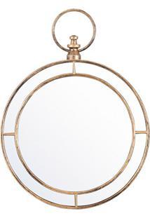 Espelho De Parede Redondo Nordic 59X44Cm Ouro Velho