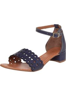 Sandália Dafiti Shoes Laser Salto Grosso Azul