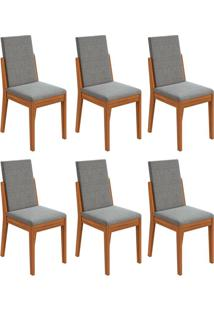 Conjunto Com 6 Cadeiras Lira Rovere E Cinza