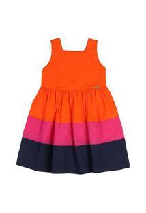 Vestido Regata Tricolor Laranja Rosa Marinho Precoce 3 Unico