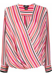 Dkny Striped Wrap Blouse - Rosa