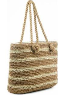 Bolsa Em Crochê Listrado Manly - Feminino-Caramelo