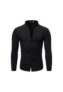 Camisa Masculina Slim Fit - Preta
