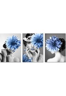 Quadro 60X120Cm Canvas Helga Mulher Com Flores Azuis
