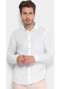 Camisa Reserva Manga Longa Extra Conforto Masculina - Masculino-Branco