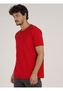 Camiseta Masculina Básica Manga Curta Gola Careca Vermelha
