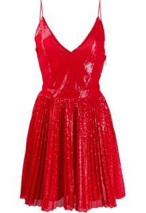 Msgm Vestido Com Paetês - Vermelho