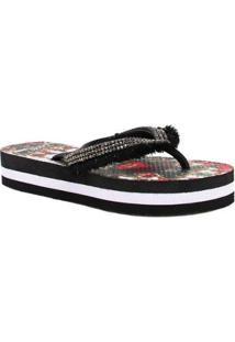 Chinelo Zariff Shoes Flatform Strass Feminino - Feminino-Vermelho+Preto