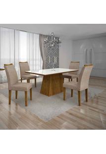 Conjunto De Mesa Com 4 Cadeiras Pampulha Ii Canela E Bege