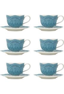 Jogo 6 Xícaras De Chá Com Pires Wolff Givemy Porcelana 220Ml Azul