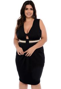 Vestido Elegance All Curves Plus Size De Festa Preto Com Dourado - Preto - Feminino - Dafiti