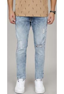Calça Jeans Masculina Slim Com Rasgos Azul Médio