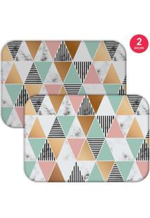 Jogo Americano Love Decor Marble Triangle Colorido - Branco - Dafiti