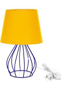 Abajur Cebola Dome Amarelo Com Aramado Azul