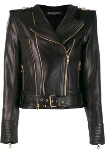 Balmain Leather Biker Jacket - Preto