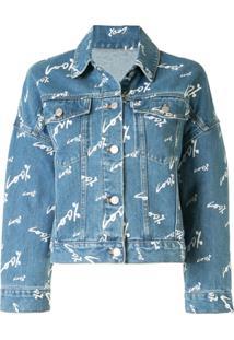 Portspure Text-Print Denim Jacket - Azul