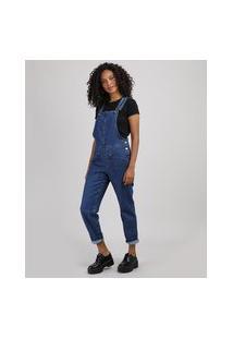 Macacão Jeans Feminino Relaxed Com Bolsos Azul Escuro