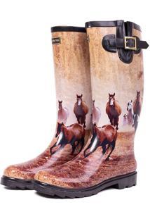 Galocha Cavalos Com Fivela - Bege & Marrom - Kesttoukesttou