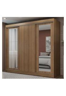 Guarda-Roupa Casal Madesa Kansas 3 Portas De Correr Com Espelhos 3 Gavetas Rustic Cor:Rustic