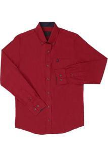 Camisa Lisa Masculina Manga Longa Tassa - Masculino-Vermelho