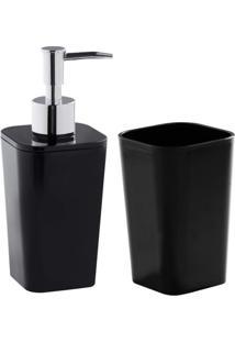 Kit Acessórios Para Banheiro 2 Peças Astra Preto