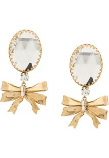 Alessandra Rich Bow Drop Clip-On Earrings - Dourado