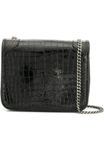 Saint Laurent Crocodile Effect Wallet On Chain - Preto