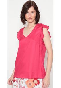 Blusa Com Renda & Bordado - Rosa Escuro - ÊNfaseãŠNfase