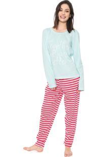 Pijama Bela Notte Listrado Azul/Rosa