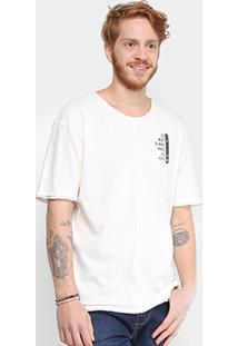 Camiseta Triton Linho Estampada Masculina - Masculino-Off White