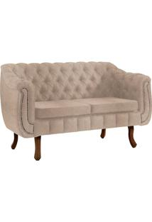 Sofa Chesterfield 2Lugares Base Madeira Tabaco Bege C/ Capitone Daf