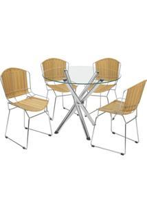 Conjunto De Mesa Com 4 Cadeiras Erika Junco Sintético Cromado