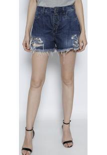 Bermuda Jeans Estonada Com Destroyed- Azul Escurotvz