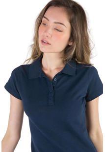 1a94efbe15 Camisa Pólo Azul Marinho Pique feminina