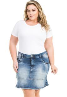 1b5575c20 R$ 169,90. Zattini Saia Azul Plus Size Curta Babado Jeans Confidencial  Extra - Feminina ...