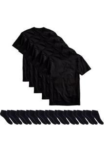 Kit 5 Camisetas Básicas Masculina T-Shirt Algodão + 10 Pares De Meias Soquete - Masculino-Preto