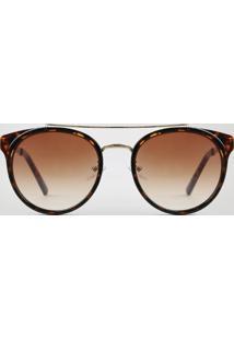 Óculos De Sol Redondo Unissex Oneself Tartaruga