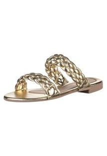 Rasteira Feminina Domidona Sandália Tiras Trançadas Dourada