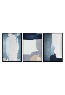 Quadro 40X90Cm Abstrato Hundura Moldura Preta Com Vidro Decorativo