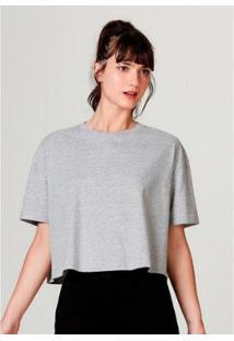 Blusa Feminina Modelagem Box Em Algodão - Feminino-Cinza