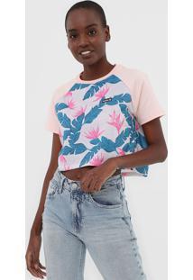 Camiseta Cropped Hurley Raglan Folhagem Rosa - Kanui