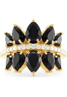 Anel Ouro Amarelo Diamantes E Quartzo Negro
