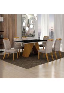 Conjunto De Mesa De Jantar Iv Com 6 Cadeiras Verona Suede Preto E Cinza