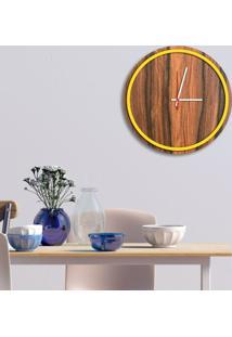 Relógio De Parede Decorativo Premium Minimalista Amadeirado Com Borda Amarela Em Relevo Médio