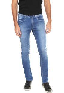 Calça Jeans Calvin Klein Slim Estonada Azul
