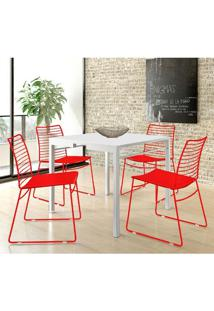 Mesa 1525 Branca Com 4 Cadeiras 1712 Color Uv Vermelha Carraro